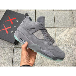 Wholesale Mens Pure White Shoes - 2017 With Original Box Mens KAWS x Air Retro 4 Basketball Shoes Sneakers Fire Red Pure Money White US8-13 Men Outdoor Athletics Shoes