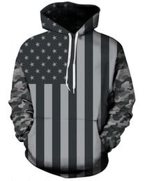 Wholesale New Digital Camouflage - Free Shipping hoodies Size M-3XL New Fall Fashion Casual Hoodies US Flag 3D Digital Printing Slim Camouflage Hooded Sweatshirt Sweater