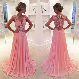 Wholesale Cheap White Chiffon Fabric - Pink Lace Bridesmaid Dresses 2016 Cheap Long Prom Dresses Formal Ball Gowns With V Neck Sleeveless A Line Floor Length Chiffon Fabric