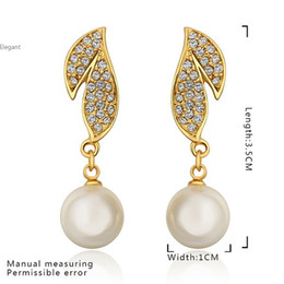 Wholesale Dangling Earrings 24k - Nickle 3.5cm X1cm 24K Gold Plated Plant Pearl Earrings Antiallergic For Women Party Romantic Wholesale 66g