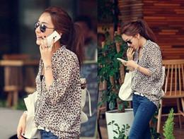Wholesale Ladies Blouses Leopard Print - New Women Wild small V neck Leopard print chiffon blouse lady Long sleeve Top plus loose size leopard blouse shirt top M L XL