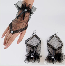 Wholesale Fingerless Wedding Gloves Sale - Hot Sales Black Red White Lace Bridal Gloves Fingerless Excellent Quality Waist Length In Stock Bridal Accessories Wedding Glvoes