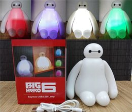 Wholesale Heroes Usb - Night Light Christmas Lights Solar Lights Led Lights Fashion Color Changing Big Hero Baymax USB LED Table Desk Lamp