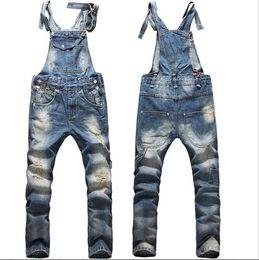 Wholesale Boys Blue Jean Pants - New Fashion Big Boys Mens Ripped Denim Bib Overalls Large Size Rompers 2015 Men's Distressed Long Jean Jumpsuit Jeans Pants For Men Work