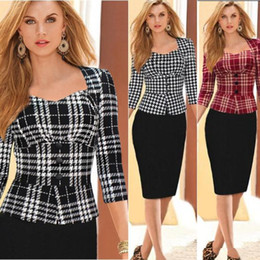 Wholesale long sleeve womens work elegant - New Womens Elegant Vintage Plaid Houndstooth Colorblock Tunic Wear To Work Business Casual Party Bodycon Pencil Dress 4446XL