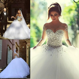 Wholesale long wedding train dress - Spring 2016 Luxury Crystal Wedding Dresses Bridal Gowns With Crystal Beads A Line Sheer Illusion Crew Neck Long Sleeves Floor Length Arabic