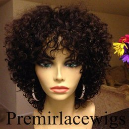 Wholesale Hand Made For Baby - Premierlacewigs Unprocessed Virgin Brazilian Curly Affordable machine Glueless Lace Front Wigs Full Lace Wigs with Baby Hair for Black Women