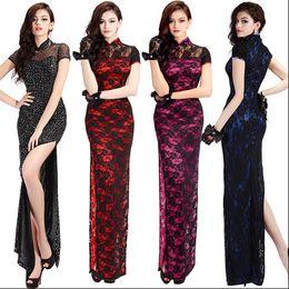 Wholesale Dress Cheap Night Long - new 5061# Cheap Chinese Dresses Evening Dress long cheongsam lace Chinese style dress sexy female cheongsam