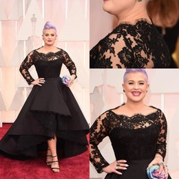 Wholesale Scallop Neck - Kelly Osbourne Celebrity Prom Dress Long Sleeves Lace Scallop Black Ball Gown High Low Red Carpet Sheer Evening Gowns