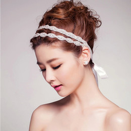 Wholesale cheap clear plates - 2015 Cheap Crystal Double Bridal Headbands Rhinestone Ribbon Wedding Headbands For Bride Beads Hair Jewelry Vintage Bridal Hair Accessories