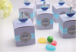 """Wholesale Wholesale Shower Boards - Baby shower favor box--""""Baby on Board!"""" Pop-Up Sailboat Favor Boxes and wedding candy box 50pcs lot"""