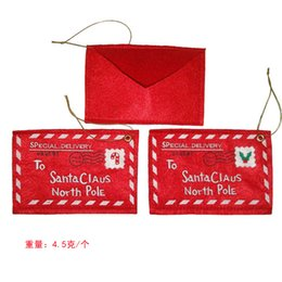 Wholesale Wholesale Small Velvet Bags - Hot Christmas Envelope 12cm*8cm Creative Small Folding Greeting Cards Non-Woven Christmas Cards Candy Bag Christmas Tree Ornament Free Ship