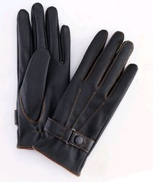 Wholesale Cheap Leather Glove - Wholesale-Top quality pu leather men gloves touchscreen gloves warm leather five finger gloves outdoor winter gloves cheap price