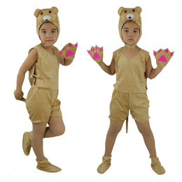 Wholesale Bear Fancy Dress Costumes - 2018 Children Short Sleeved Animal Bear Costume Stage Perfromance Cosplay Clothing Halloween Birthday Fancy Dress Supplies