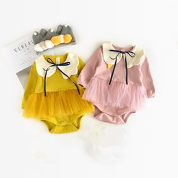 Wholesale Children Detachable Collar - Lovely Spring Autumn baby girl little Swan rompers Cotton kids jumpsuits child long sleeve climbing clothes with Detachable collar