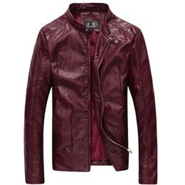 Wholesale Wine Leather Jacket - Wholesale- 2017 New Men Washing PU Leather Motorcycle Jackets Large Size M-4XL 5XL 6XL Khaki Black Wine Red Male Skin Leather Coat