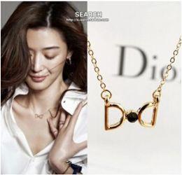 Wholesale D Pendants - Wholesale-N259 Latest Fashion One Thousand Lraqi Chung D Word Imitation Diamond Necklace Pendant Inlaid Jewelry Factory Direct