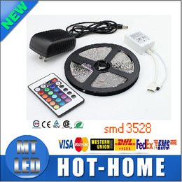 Wholesale 24 Blue Led 12v - full set of led strips RGB 3528 CW WW Green 5M 300 led lighting Led light Strip Waterproof 24 Keys IR Remote Controller+12V 2A Power Supply