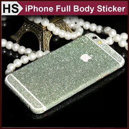Wholesale Iphone 4s Full Stickers - For iPhone 4 4S 5 5S 6 6S Plus Samsung S7 Edge S6 NOTE 5 Sticker Diamond Powder Full Body Skin iPhone6 Front + Back + Sides Bling Protector
