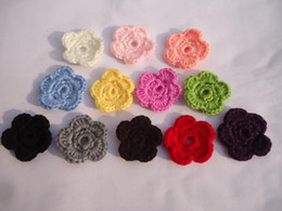 Wholesale Knitted Garment Wholesalers - 50pcs DIY Crochet flowers Headband Babys Girls Kids small shoe Knitting wool flower Children Kids' Hair Garment Accessories 33colors