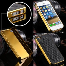 Wholesale Deluxe 4g - Wholesale-Big Sale! Gold High Quality Grid Pattern Leather Back Case For iphone 4 4S 4g Deluxe Metal Plating Case For iphone 4s Hard Cover