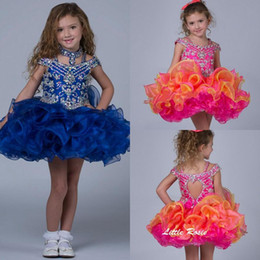 Wholesale Cheap Cupcake Dresses - 2015 New Short Cupcake Pageant Dresses Beads Crystals Ruffles Organza Flower Girls Dresses Royal Blue Princess Dresses Cheap