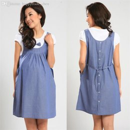 Wholesale clothes for pregnancy women - Wholesale-2015 Summer Maternity Casual Dress Maternity One-piece Dress pregnancy Denim Clothing Bow Clothes for Pregnant Women