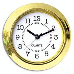 Wholesale Wholesale Clock Inserts - 37mm Cheap and Gold Quality Ni Clock Gold Plastic Fit up Clock Insert Arbic Numerals Mini Insert Clock