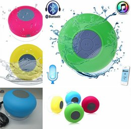 Wholesale Free Call Button - 2016 Portable Waterproof speaker Wireless Bluetooth Speaker Shower Car Handsfree Receive Call & Music Suction Phone Mic Promotion DHL FREE