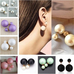 Wholesale Mother Pearl Jewellery - Runway Colorful cultured Pearl Celebrity Jewellery Bubble Double Pearl Beads Plug Earrings for women lady girls Ear Studs Pin for party