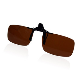 Wholesale Red Polycarbonate Lenses - 2016 Polarized Night Vision Clip On Flip Up Driving Lens Glasses Sunglasses polycarbonate+Plastic high quality
