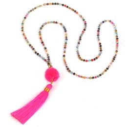 Moda mix cor contas colar estilo boêmio borla mulheres pingente de colar com multicolor pompom transporte da gota de Fornecedores de cosplay rainha