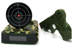 Wholesale Target Shooting Clock - NEW coming wholesale Novelty Gadget Target Gun Shooting Alarm Clock Lock N Load Target Alarm Clock Toy Gift Clocks DHL FREE SHIPPING