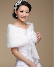 Wholesale Cheap White Fur Shawls - 2016 New Arrival Tied Faux Fur Bridal Jackets White Warm Winter Wedding Wrap Free Shipping Cheap Shawl