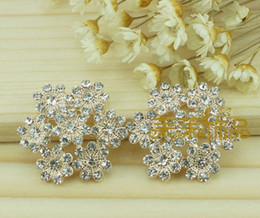 Wholesale 26mm Metal Rhinestone Buttons - 20pcs 26mm Alloy Rhinestone Flower Beads Button For Scrapbooking Craft DIY Hair Clip Fashion Accessories