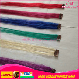 Wholesale Mix Colour Hair - cheap coloured clip in Hair Extensions 100 human hair 6color mix 10pieces blonde Red Pink Blue Purple Green clip on human hair extensions