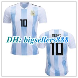 Wholesale Shirt Football Argentina - TOP QUALITY 2018 World Cup MESSI DYBALA Argentina home blue soccer jersey 17 18 AGUERO DI MARIA HIGUAIN 2017 away football shirts