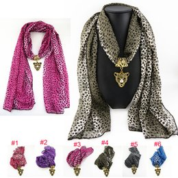 Wholesale Yellow Jewelry Scarves - Wholesale 6 colors Mix Alloy leopard chiffon Pendant Scarf Jewelry Beads Scarves Necklace Scarfs Pendants Fast FreeDHL E84L