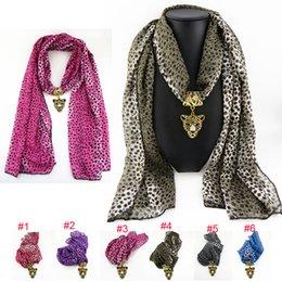 Wholesale Leopard Pendant Scarves - Wholesale 6 colors Mix Alloy leopard chiffon Pendant Scarf Jewelry Beads Scarves Necklace Scarfs Pendants Fast FreeDHL E84L