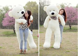 "Wholesale Teddy Bear 72 - Wholesale-White TOYS 6 FEET BIG TEDDY BEAR STUFFED 5 Colors GIANT JUMBO 72"" size:180cm Embrace Bear Doll lovers christmas  birthday"