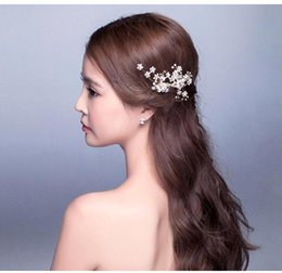 Wholesale Gold Pearl Hair Accessories - 2016 New Elegant Beaded Wedding Hair Accessory Crystals Bridal Hair Decorations