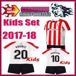 Wholesale Boys Athletic Shorts - kids KITS+ Athletic Bilbao Socks 2017 SUSAETA GURPEGUI MUNIAIN Jersey Home 18 shirt Athletic Club Bilbao Kids Jerseys Football uniform