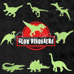 Wholesale Glow Dark Children - 9pcs pack Glow in the Dark Fluorescent Decal Baby Kids Children Nursery Room Home Wall Luminous Decoration Dinosaur Stickers