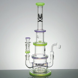 Wholesale Top Dhgate - Newest Arrival Tower Style Imported Pigment Green And Purple Glass Bong Top Quality Glass DHgate Water Shape Hookahs 2016