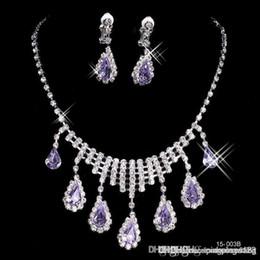 Wholesale Elegant Prom Necklace - 2016 new luxurious Shining Luexury Elegant Wedding Bridal Prom Silver plated Rhinestone Crystal Birdal Jewelry New necklace and earring set