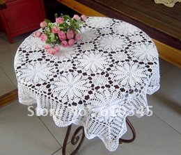 Wholesale Hand Crochet Tablecloths - Hot selling 100% cotton hand knitting Crochet tablecloth 85x85cm Table cover table cloth TC008