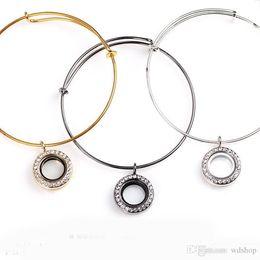 Wholesale Locket Rings Wholesale - 20mm Round Floating Locket Charm Bracelets With Rhinestone Luxury Designer Brand Stainless Steel Bangle For Women