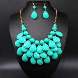 Wholesale Teardrop Acrylic Diamonds - Women's 2015 Fashion spring Teardrop promotion Water Drop Bib necklaces pendants multi-color bubble necklace earring jewelry