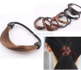 Wholesale Braided Ponytail Wig - New Korean Style Wig Rope Hair Band Accessories Elastic Hair Bands Braid hairpiece Ponytail Holder Hairband JJAL H169