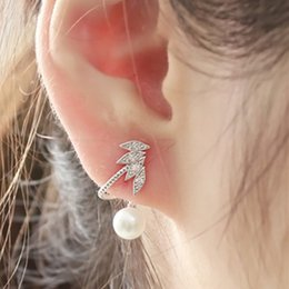 Wholesale Clear Cuffs - New Arrivals 18K White Gold Plated Clear Crystal Cluster Pearl Cute Stud Earrings Ear Cuff Climber Fashion Jewelry Best Gift for Women